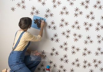 DIY wall stencil idea that looks like wallpaper…