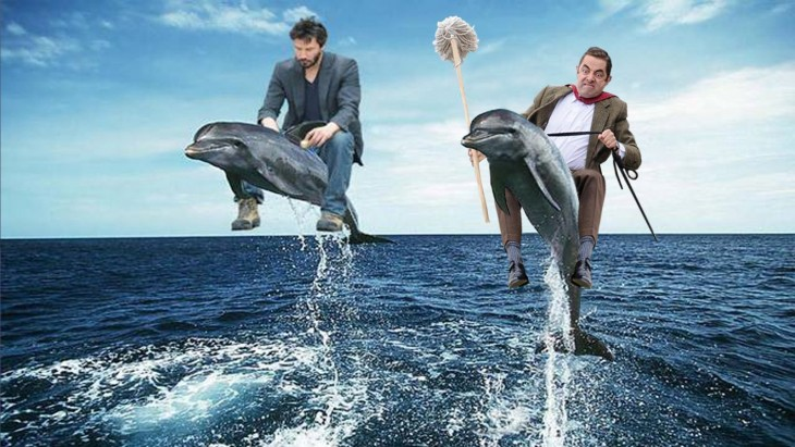 Photoshop de Mr. Bean con Keany sobre delfines