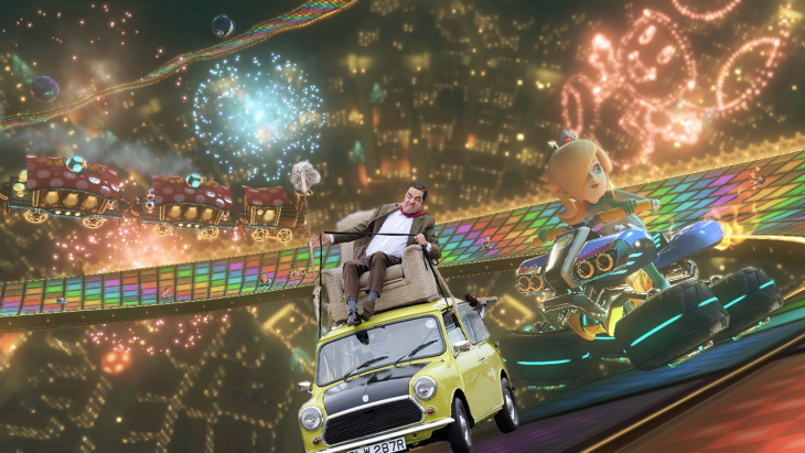 Photoshop de Mr. Bean en su carro en la senda arcoiris del Mario Kart 8