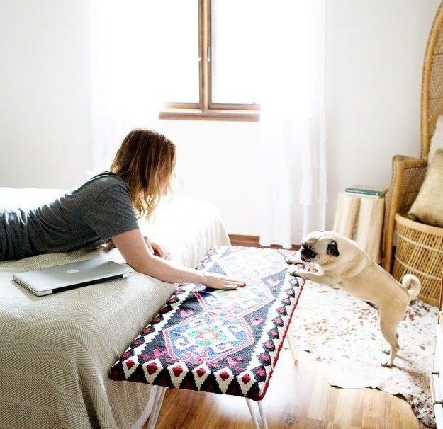 Upholster a piece of wood with a pretty blanket (and hairpin legs, again) for a …